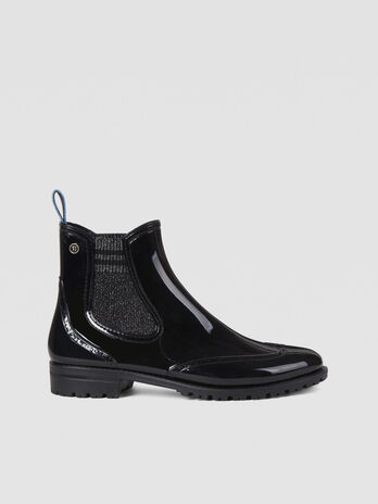 Rubber and knit Chelsea boots