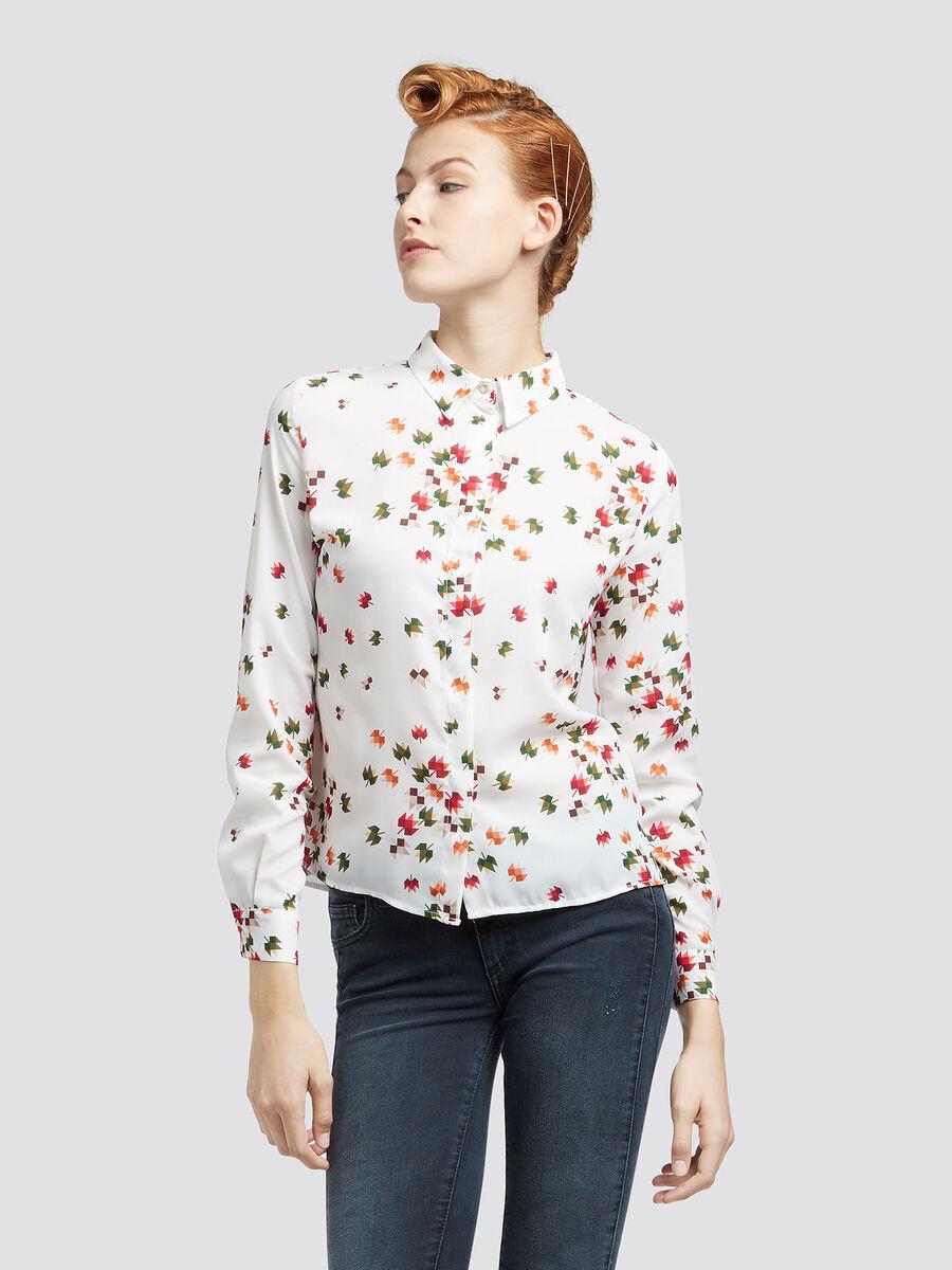 Camisa de georgette con estampado de flores graficas