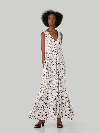 Longue robe sans manches en viscose a fleurs