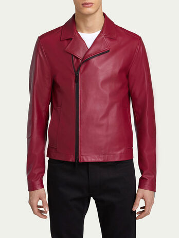 Slim fit biker zip up jacket in solid colour leather