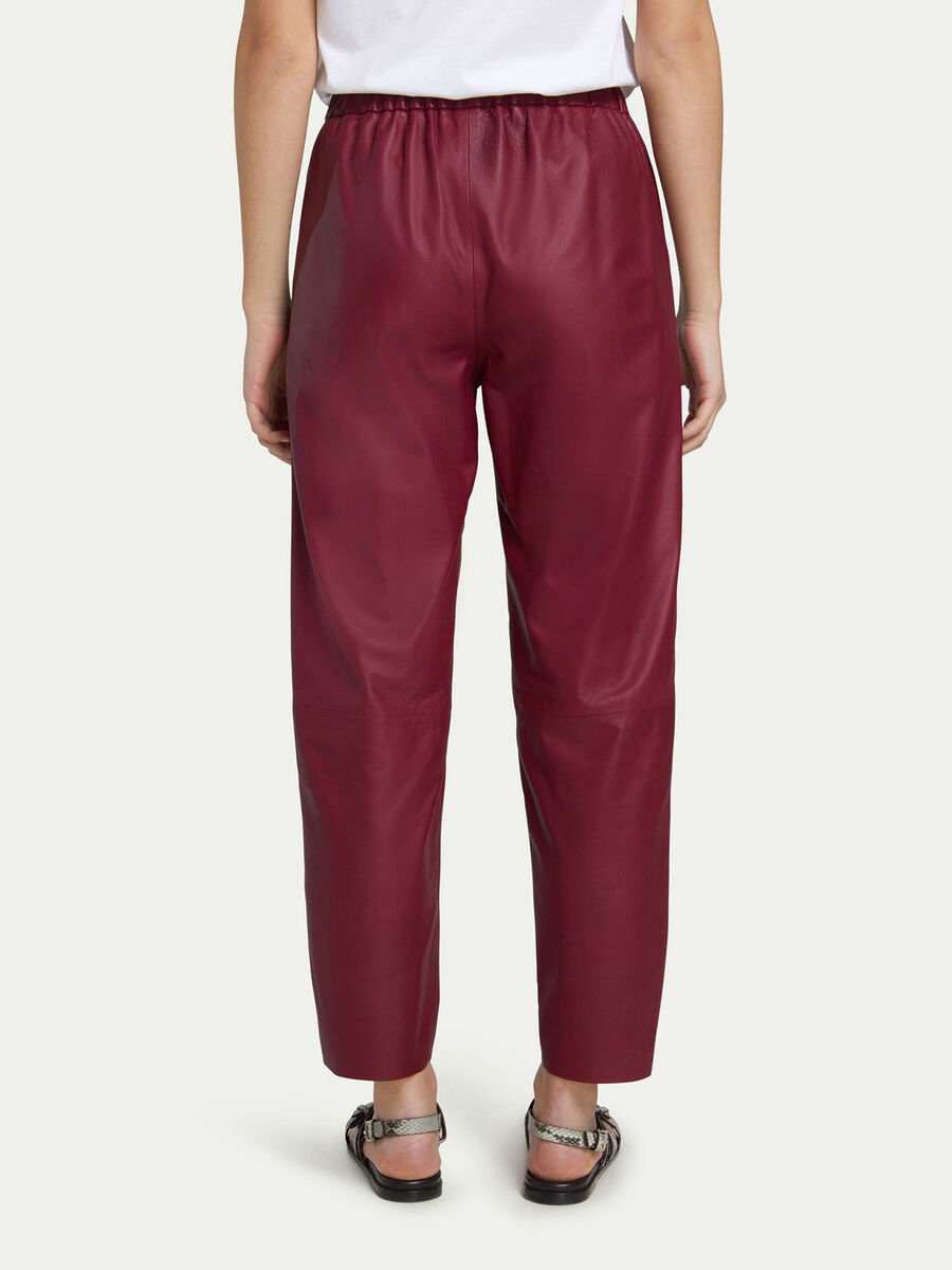Pantaloni jogging in pelle elasticizzati