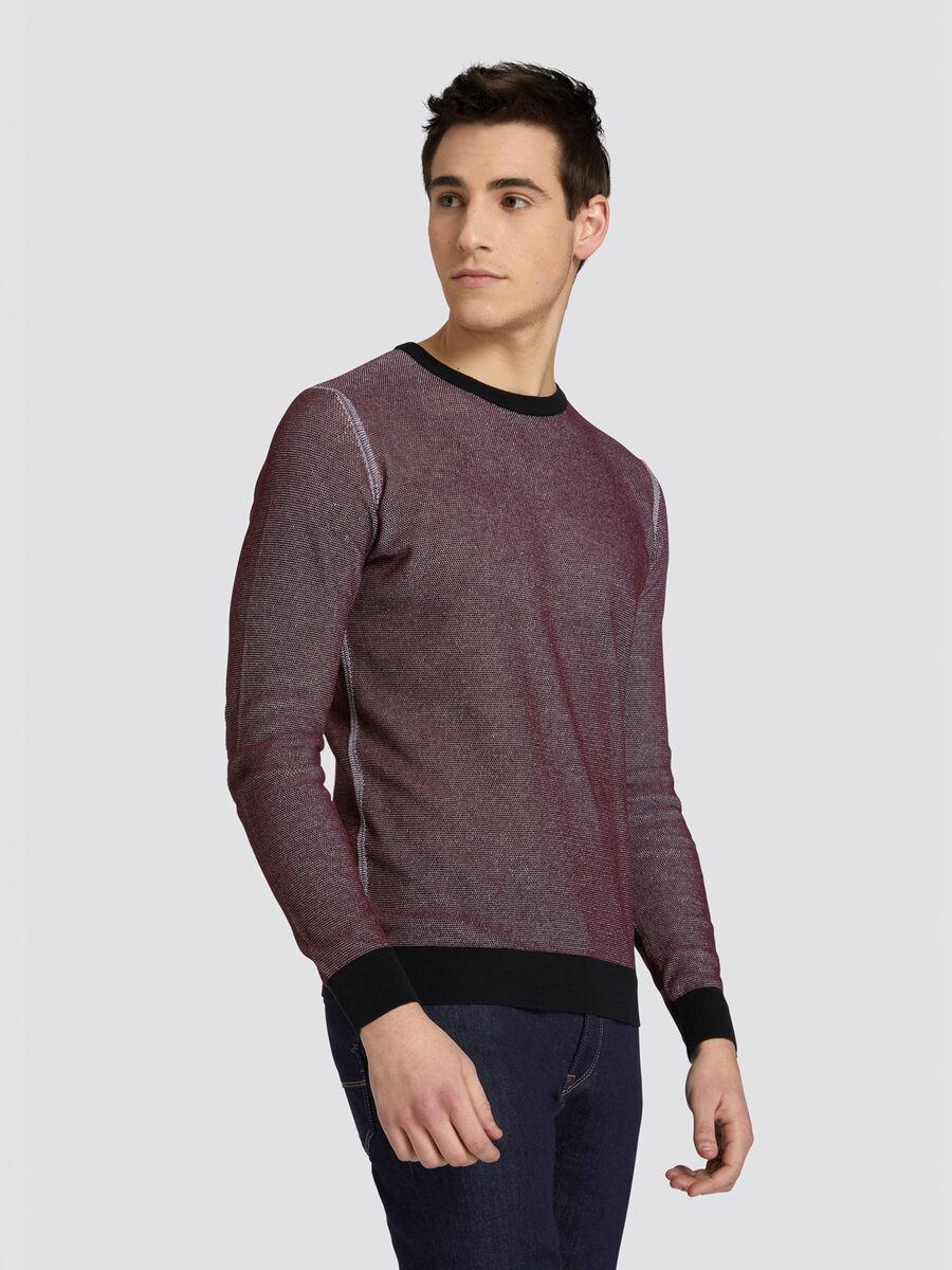 Pullover slim fit in puro cotone bicolor
