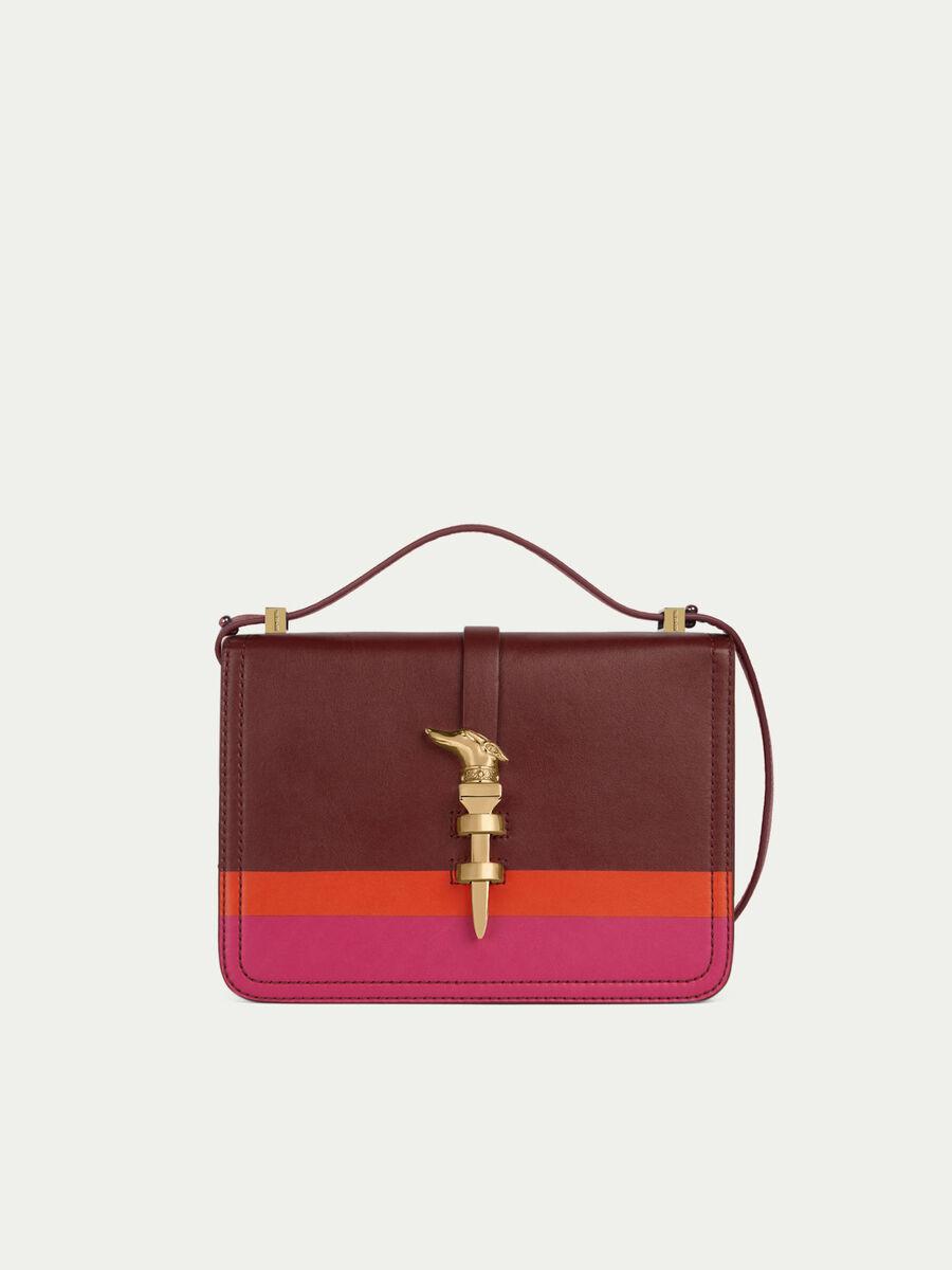 Midi Cacciatora Nail shoulder bag in joy color leather