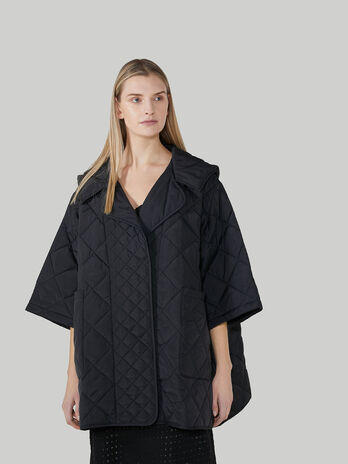 Soft quilted nylon overcoat