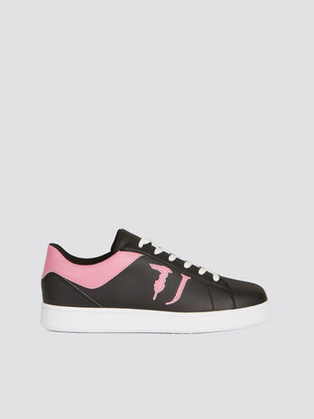 Laminated two tone faux leather sneakers with logo
