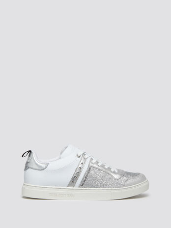Glittery leather sneakers