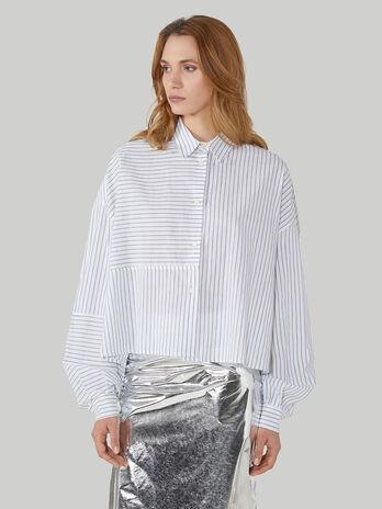 Hemdbluse im Over-Fit aus Baumwolle und Leinen