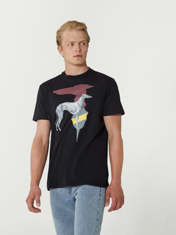 Close fit cotton T-shirt with bold print
