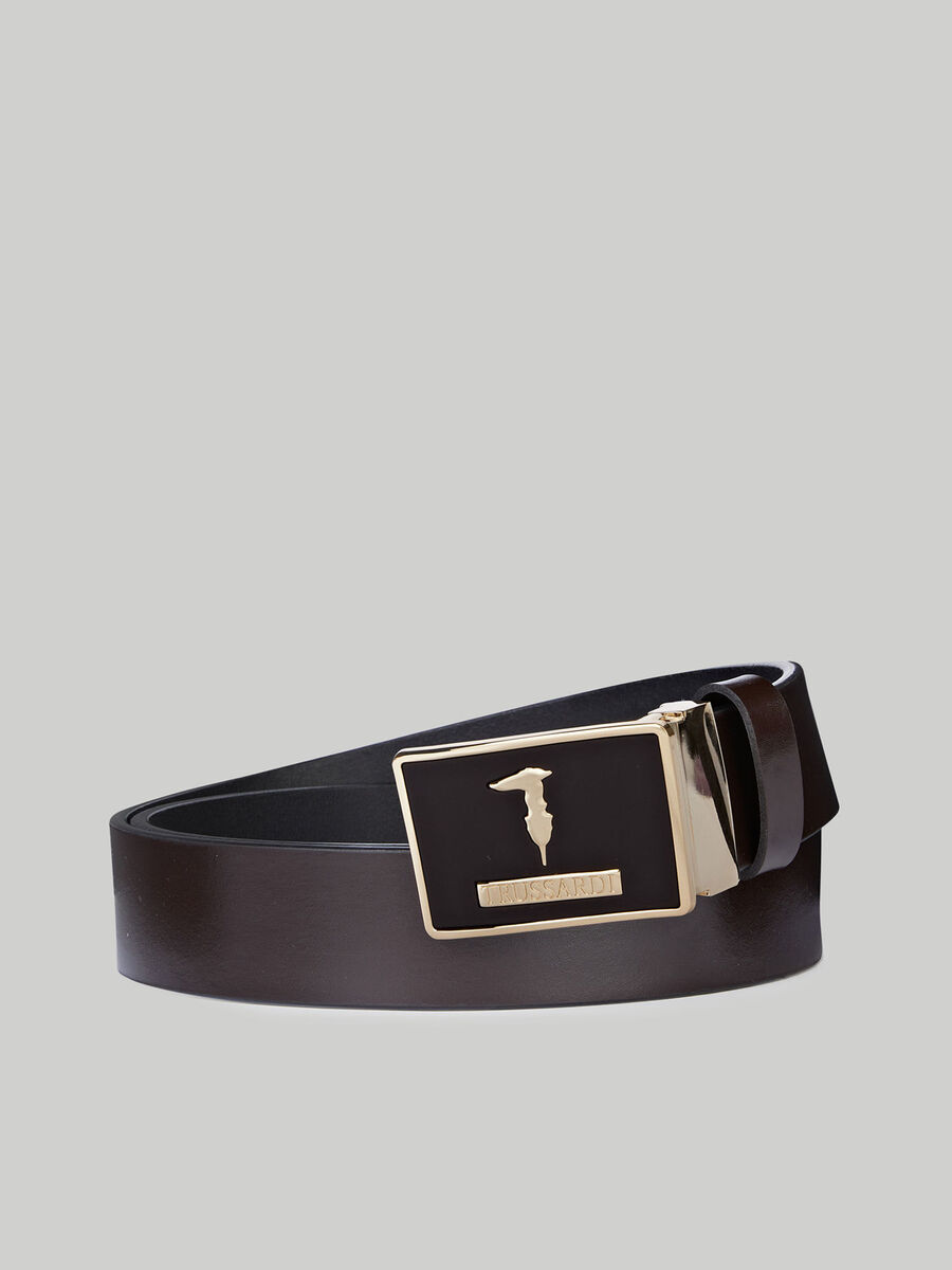 Leather belt with enamelled Levriero plate