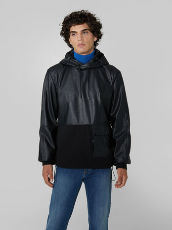 Soft faux leather anorak