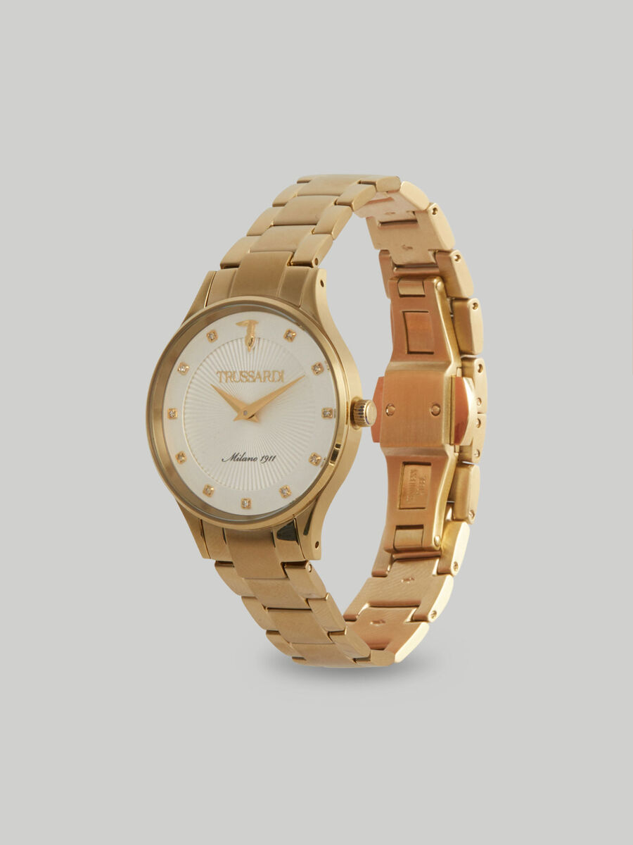 34-mm Gold Edition watch with steel strap