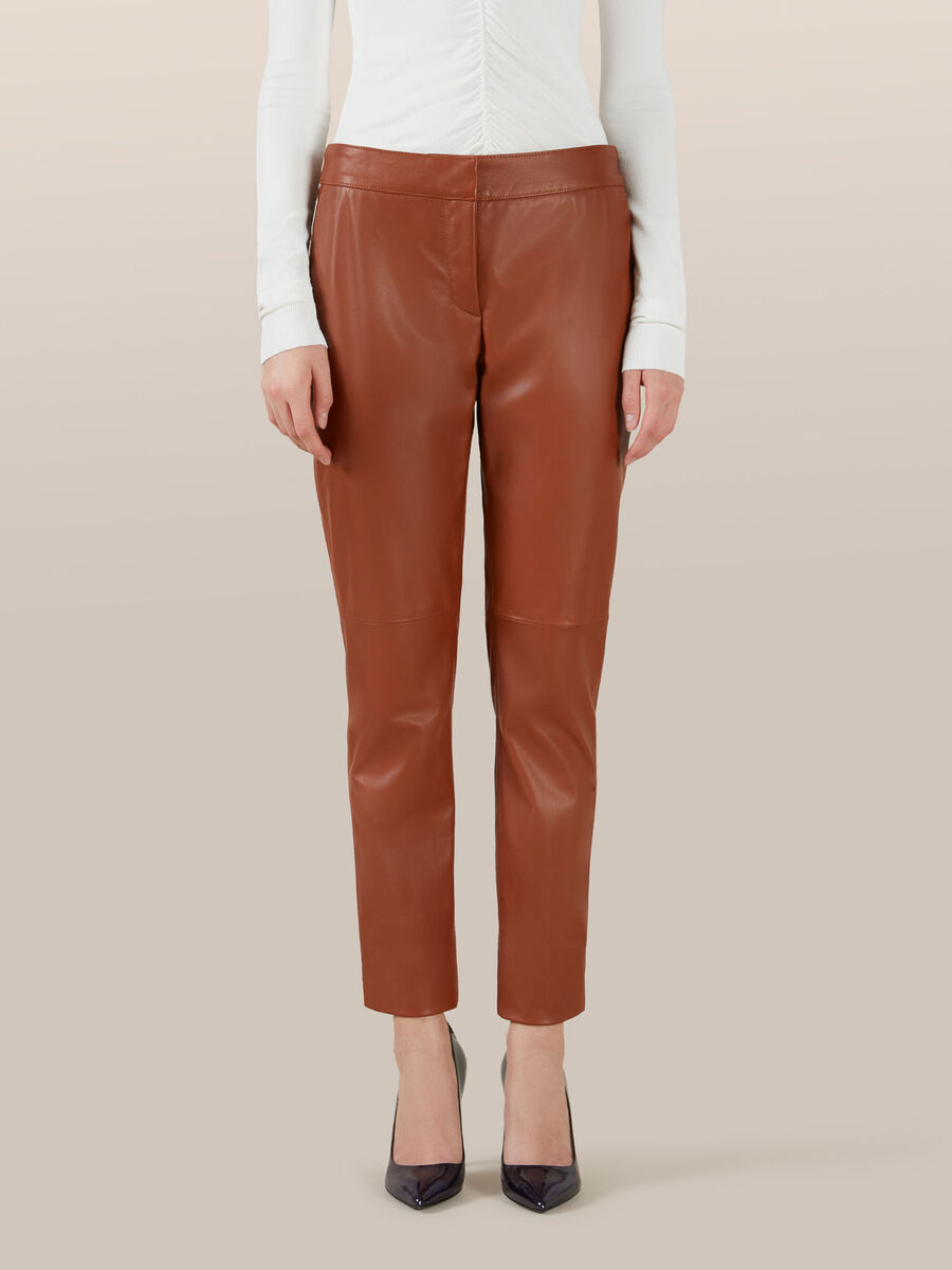 Regular fit leather trousers
