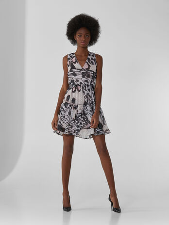 Short dress in printed fil coupe