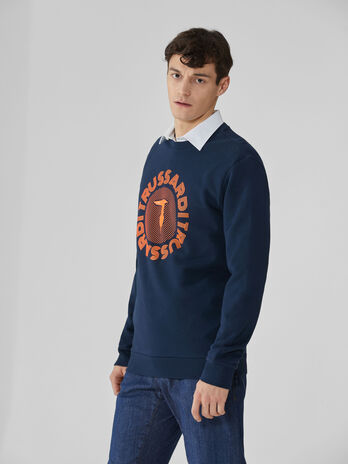 Regular-fit crew-neck sweatshirt with logo