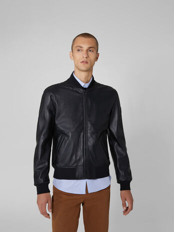 Bomber jacket in pelle soft touch