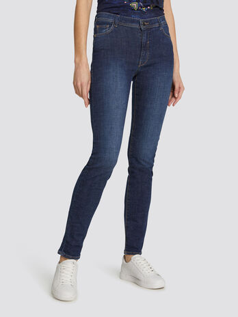 Skinny Basic 105 jeans in dark solid colour denim