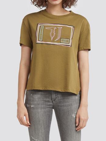 T shirt crop in jersey di cotone con fondo asimmetrico
