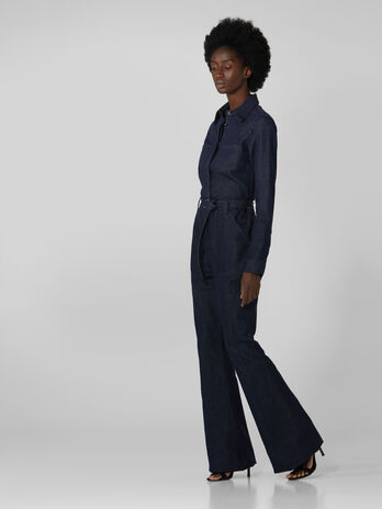 Reactive denim jumpsuit with multiple pockets