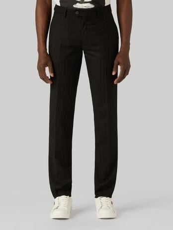 Pantalone stamford in tessuto gessato