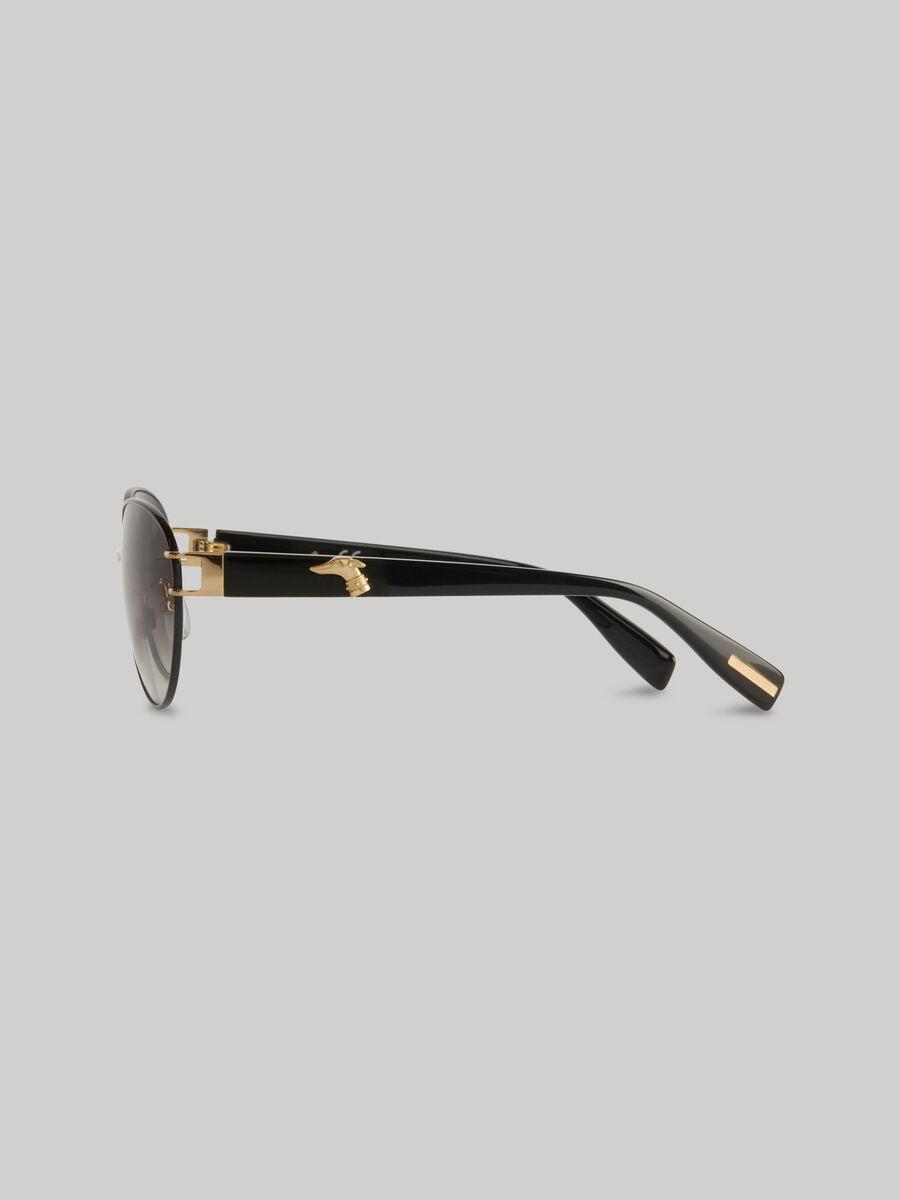 Occhiali da sole ovali in metallo con logo