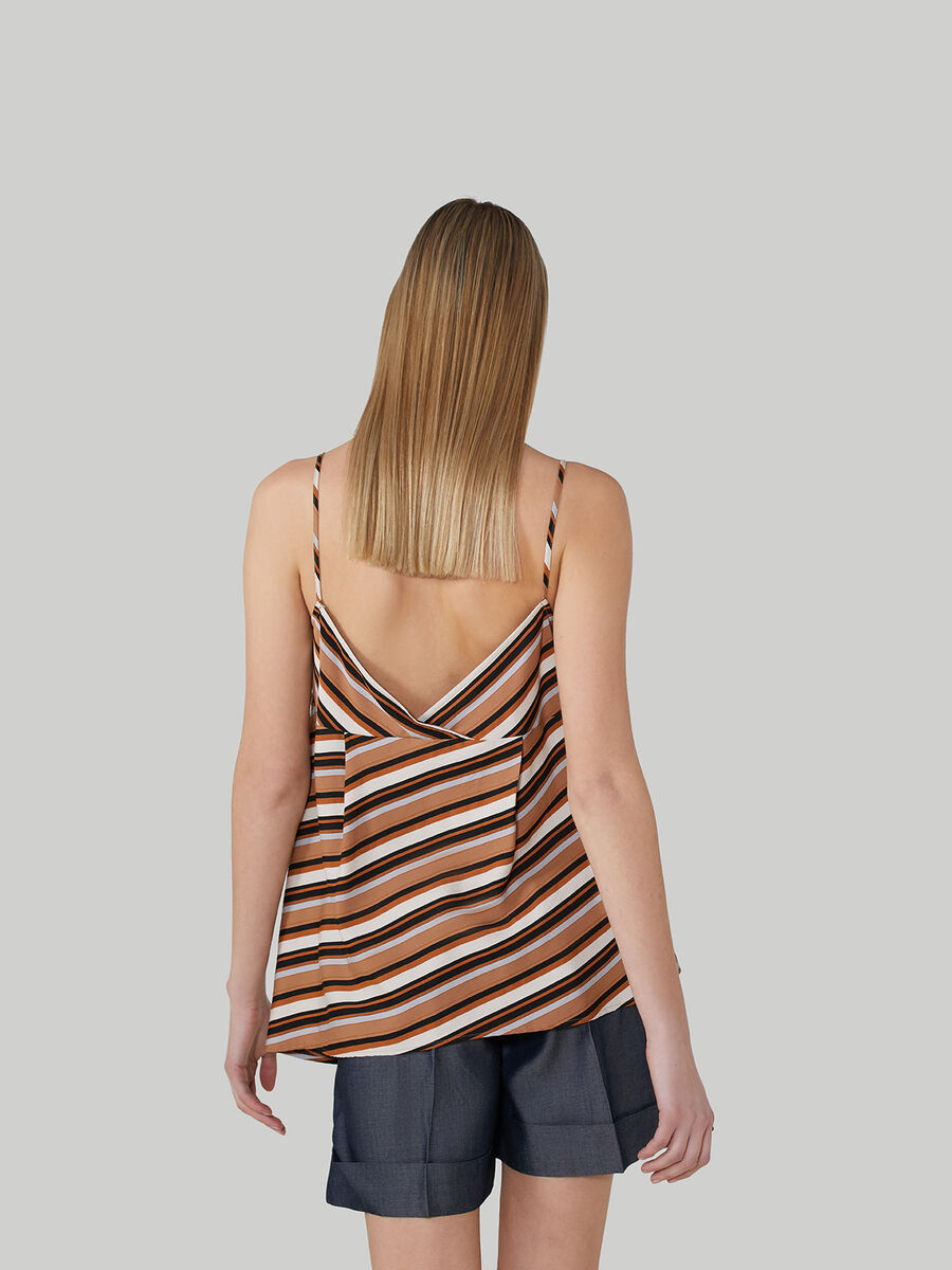 Sleeveless striped twill top