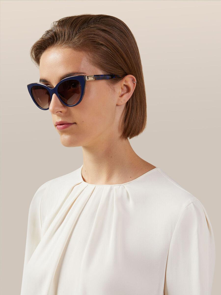 Acetate sunglasses with multi coloured temples