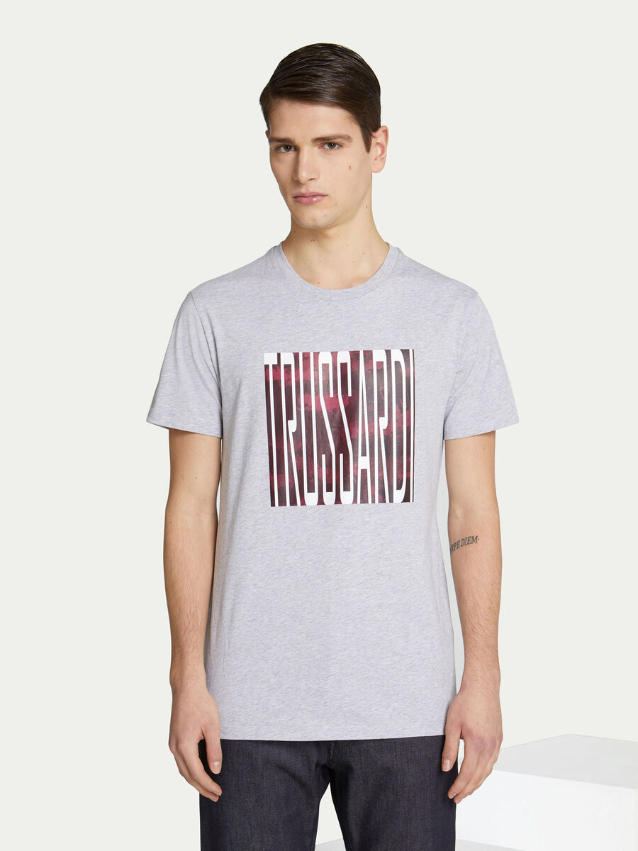 T shirt regular fit in jersey con stampa lettering