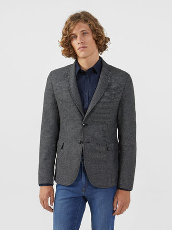 Blazer regular fit in misto lana con micro texture