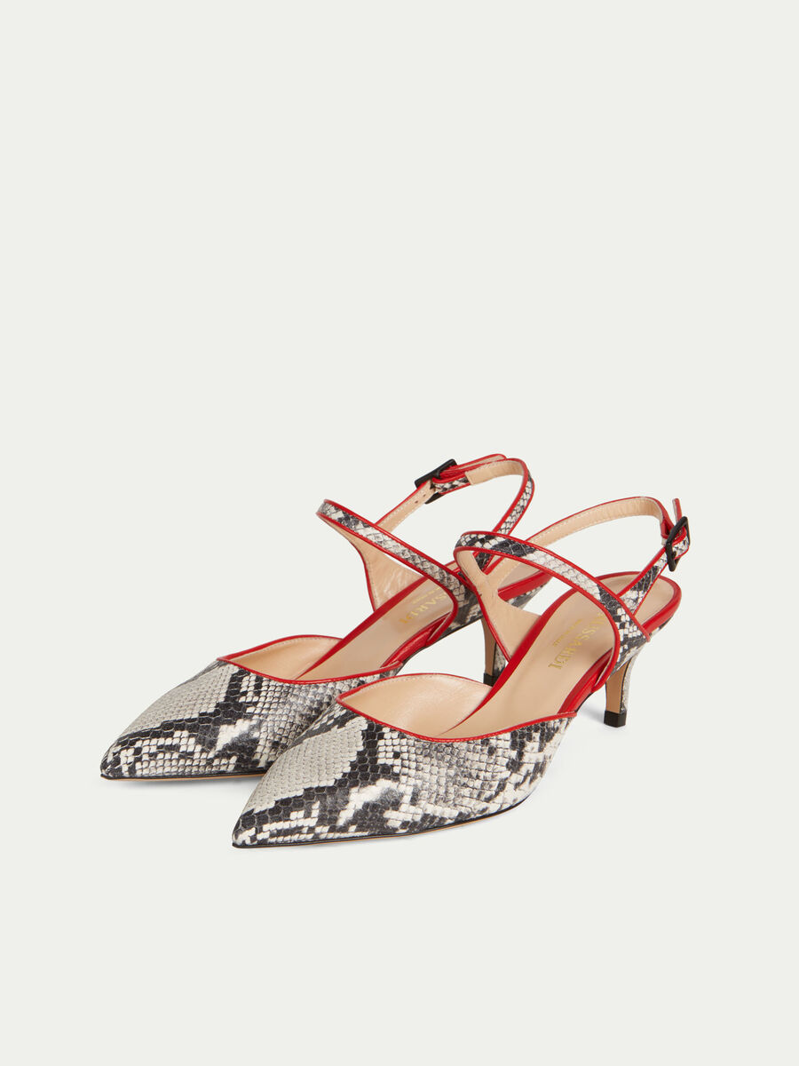 Snake print leather slingbacks with a low heel