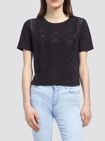 Pure cotton cropped T shirt with burnt out print