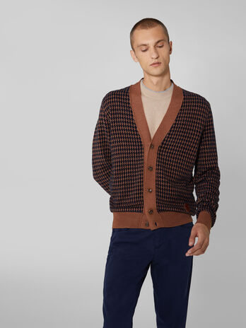 Cardigan regular fit in ciniglia con bottoni
