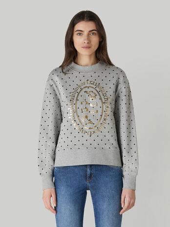 Sweatshirt im Boxy-Fit aus Baumwolle mit Metallic-Print