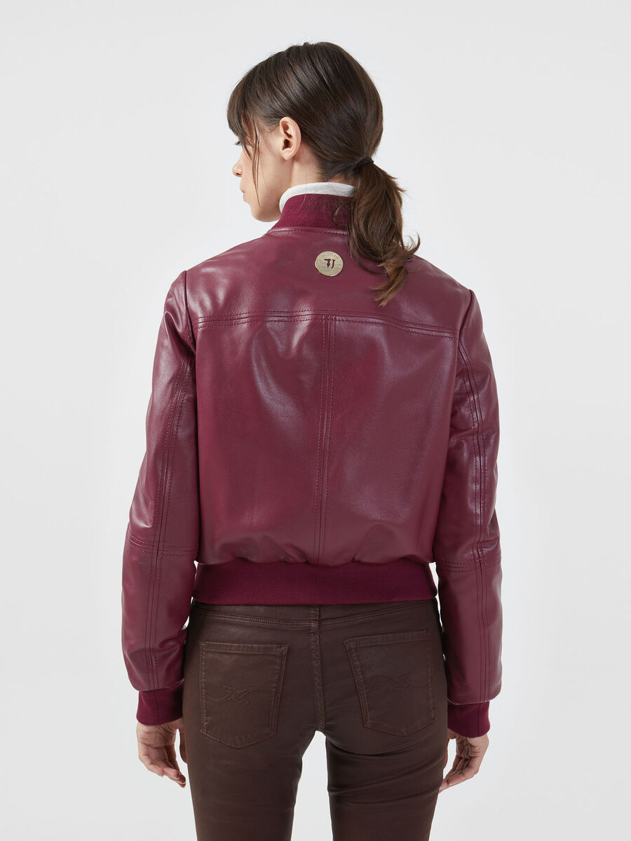 Regular fit bomber jacket in soft touch leather