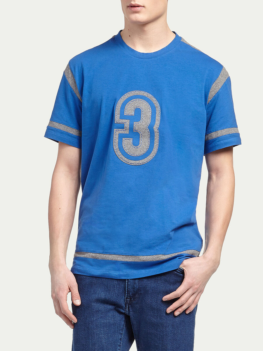 Jersey T-shirt with lettering embroidery