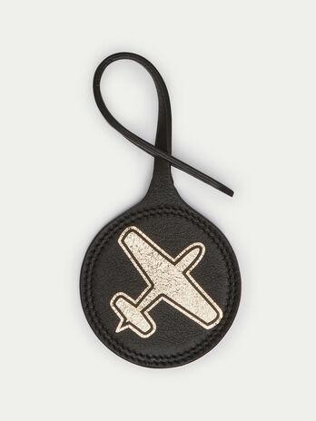 Breloque ronde avion en cuir Velvet