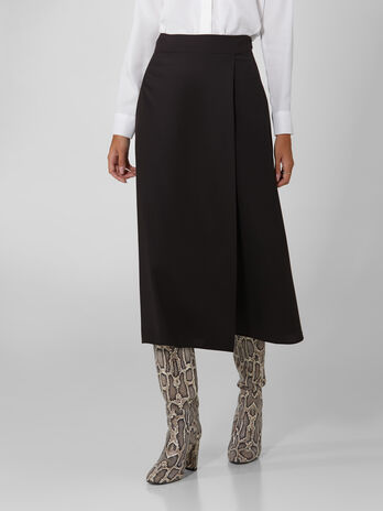Wool blend wrap skirt