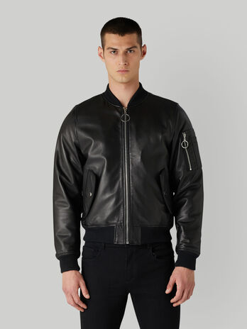 Glossy leather bomber jacket with zip