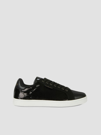 Faux leather Galium sneakers with sequins