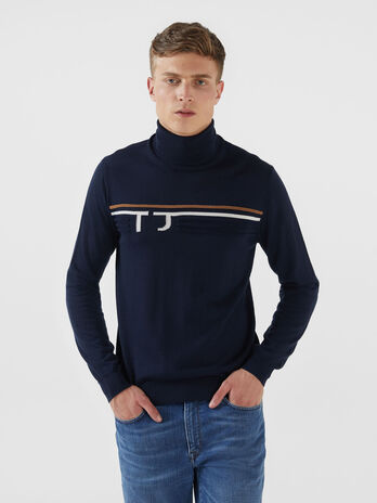Wool blend high neck pullover with logo