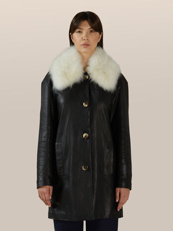 Regular fit leather jacket with cashmere collar