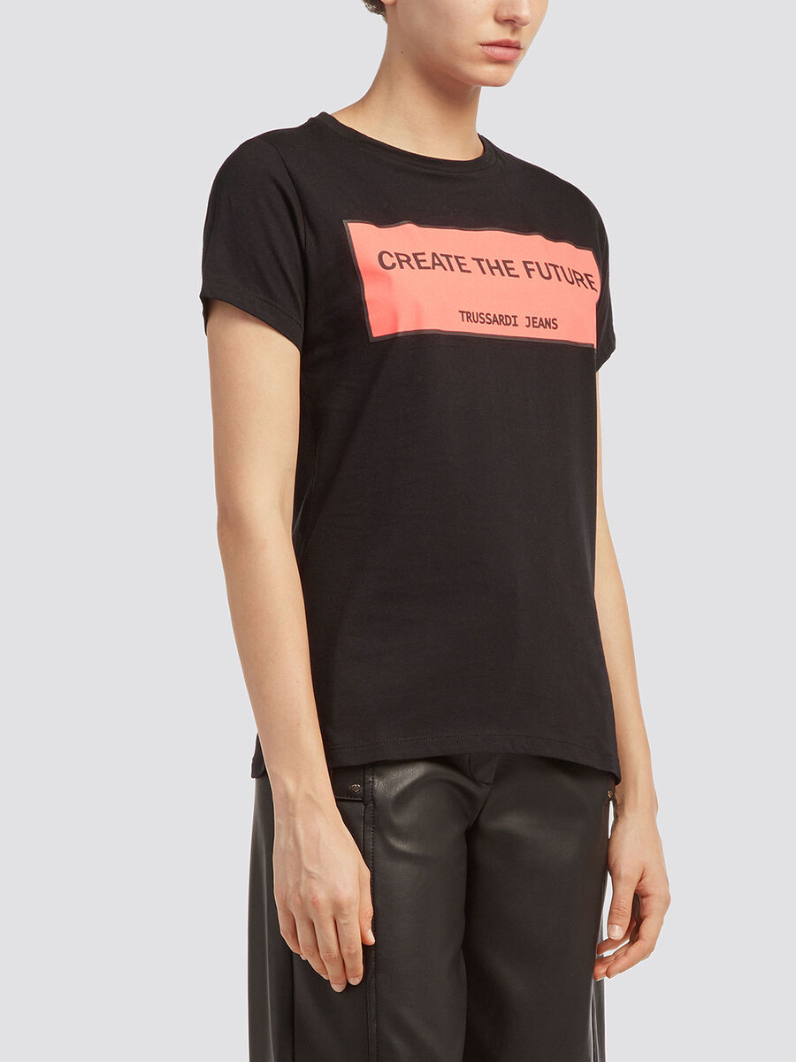 Cotton jersey T shirt with lettering print