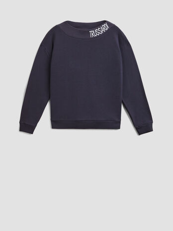 Cotton sweatshirt with branded round neck