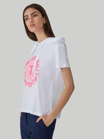 Baumwoll-T-Shirt mit Kapuze und Logo-Print