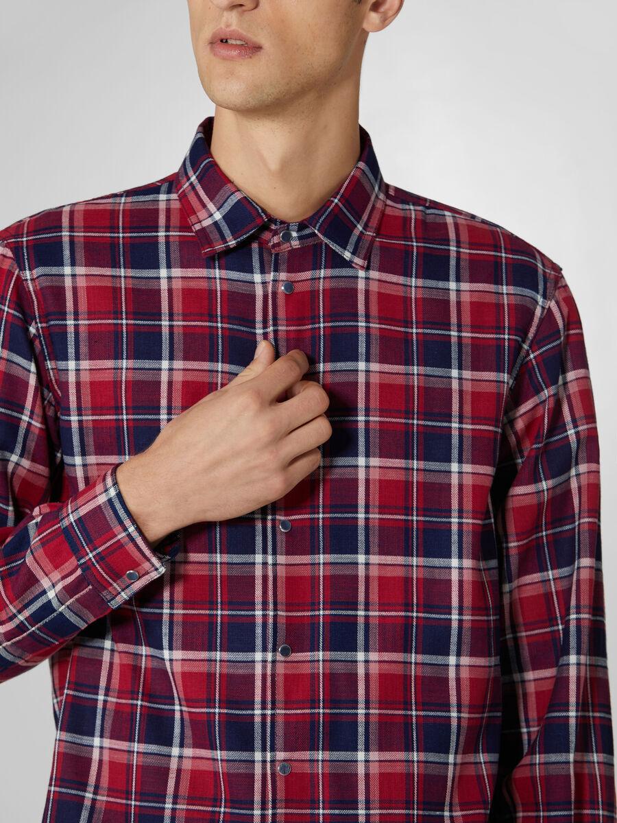 Two tone chequered denim shirt