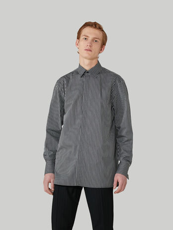 Comfort-fit striped cotton jacquard shirt