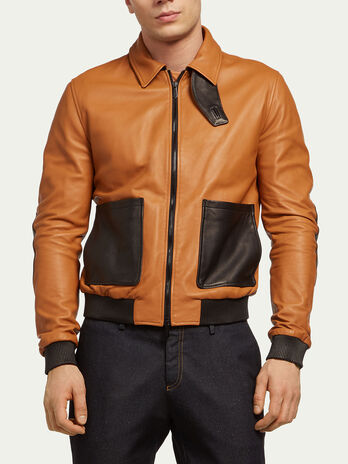 Leather bomber jacket with airplane details
