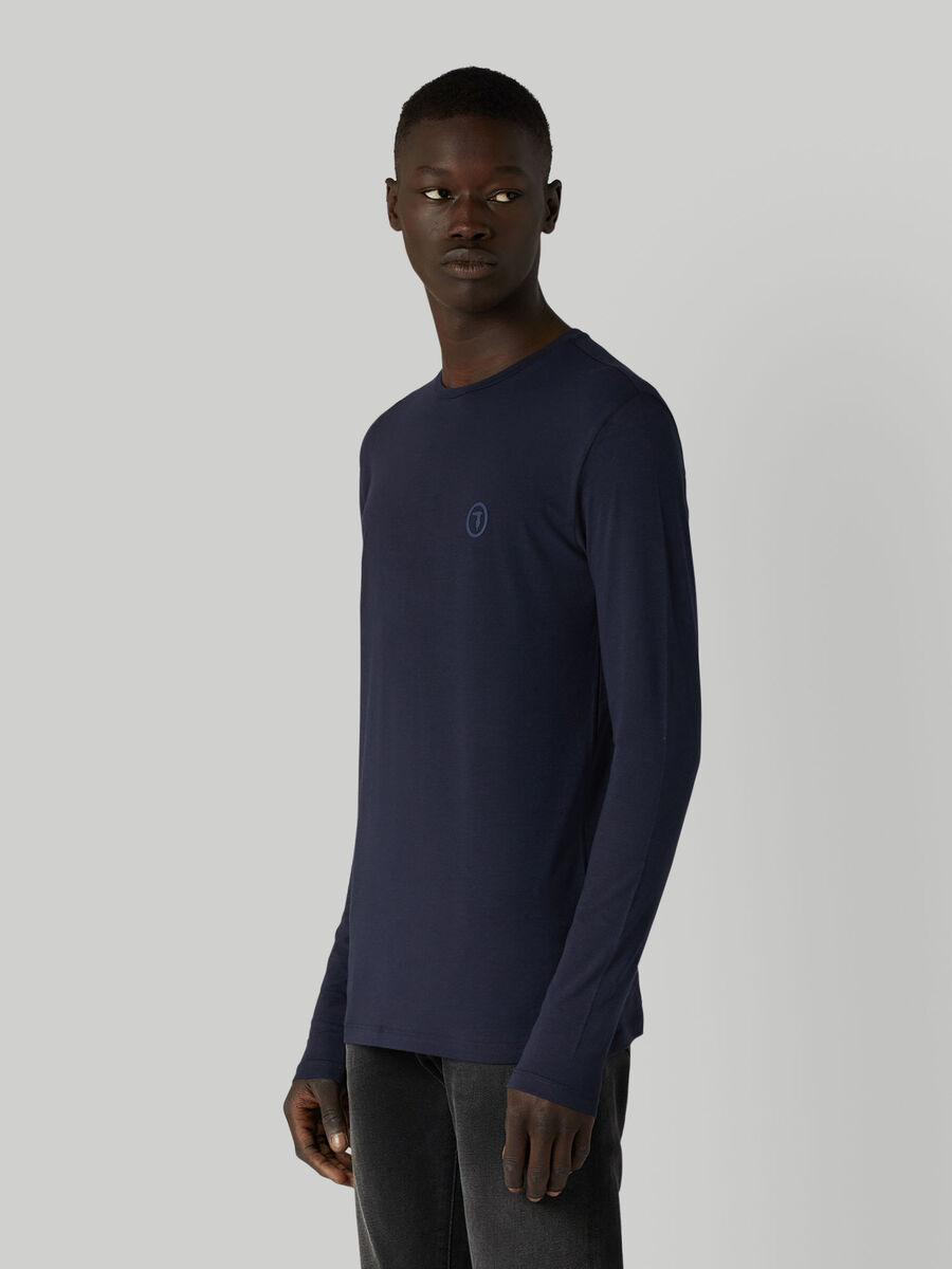Slim-fit jersey T-shirt with long sleeves