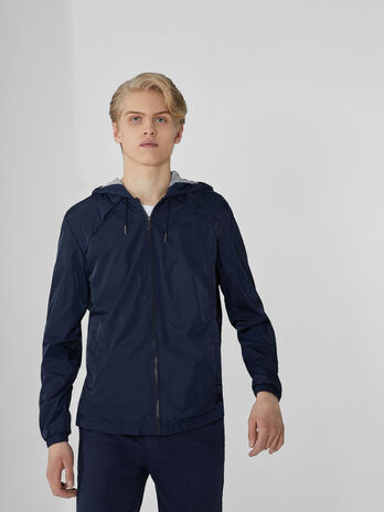 Compact nylon jacket with hood