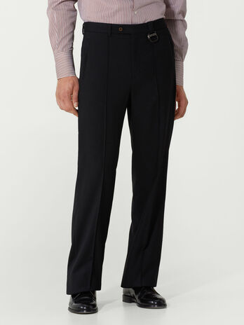 Regular fit wool flannel trousers