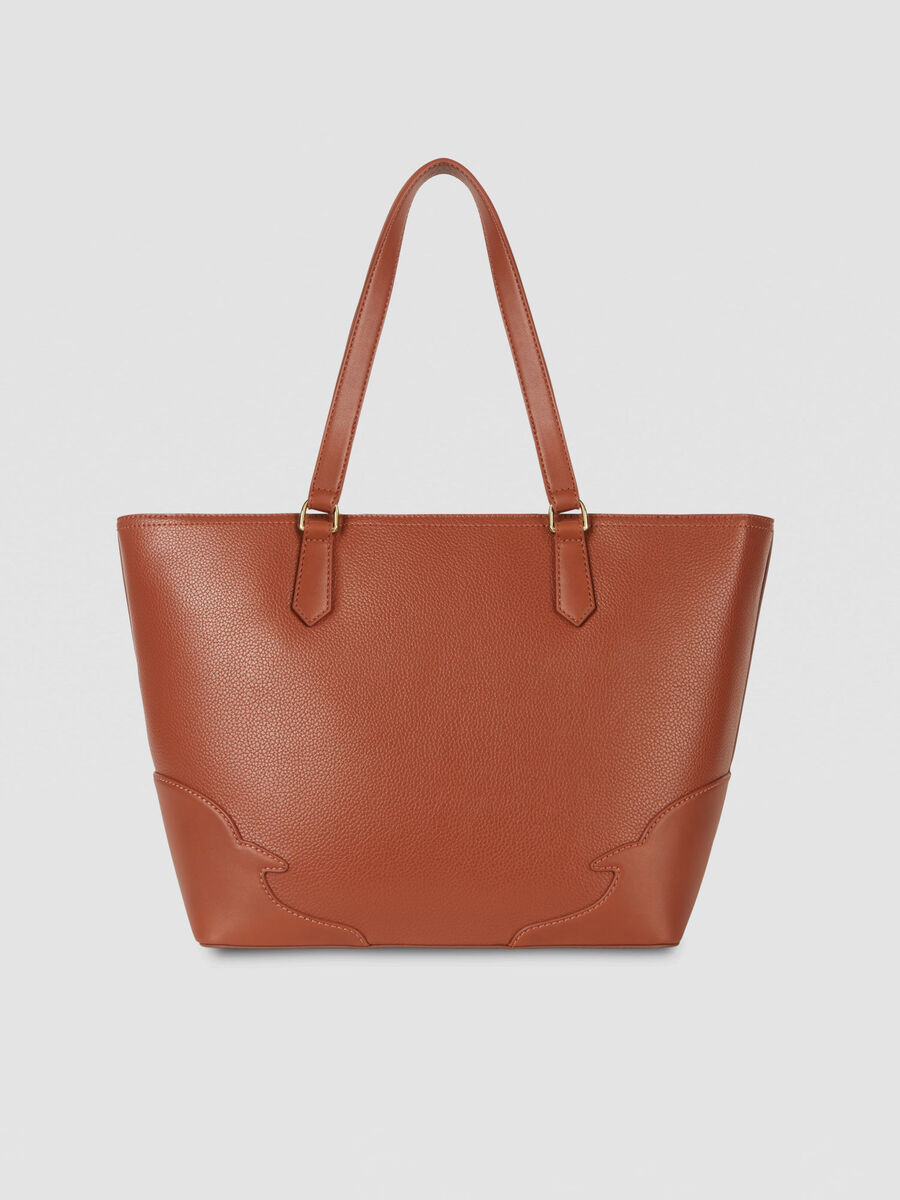 Medium Deco Edge tote bag in tumbled faux leather